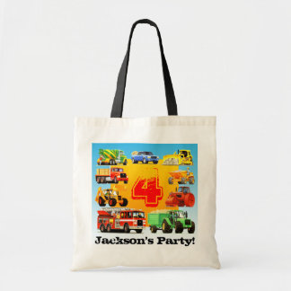 Big Trucks 4th Birthday Party Tote Bag