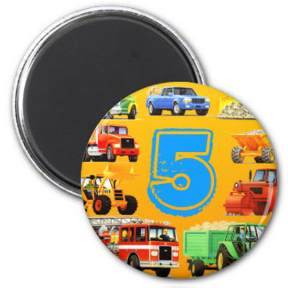 Big Trucks 5th Birthday Refrigerator Magnets