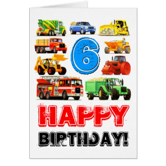 Big Trucks 6th Birthday Card