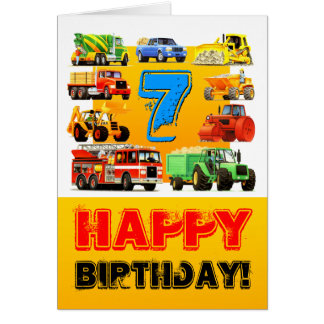 Big Trucks 7th Birthday Greeting Card
