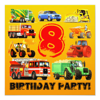 Big Trucks 8th Birthday Party 13 Cm X 13 Cm Square Invitation Card