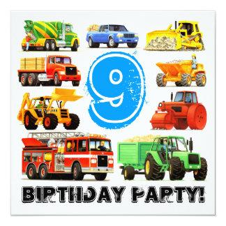 Big Trucks 9th Birthday Party 13 Cm X 13 Cm Square Invitation Card