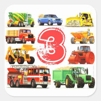 Big Trucks Boys 3rd Birthday Square Sticker