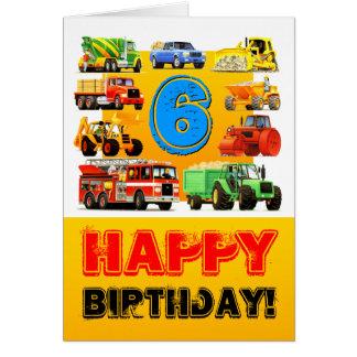Big Trucks Boy's 6th Birthday Greeting Card