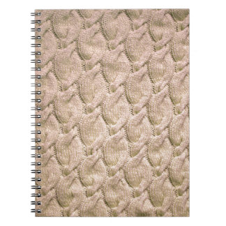 Big twisted knitted cables (cream) spiral note book