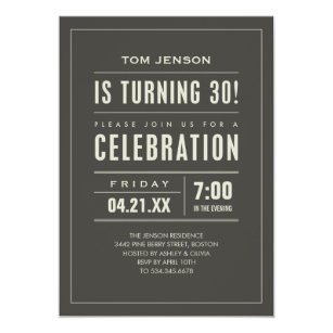 Big Type 30th Birthday Invitations
