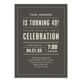 Big Type 40th Birthday Invitations