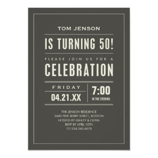 Big Type 50th Birthday Invitations