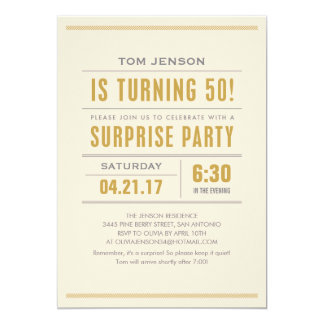 Big Type 50th Birthday Surprise Party Invitations
