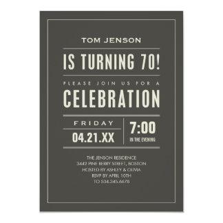 Big Type 70th Birthday Invitations