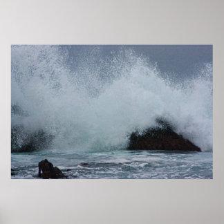 Big wave, in Monterey. Poster