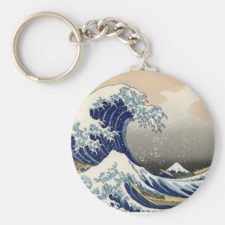Big Wave Basic Round Button Key Ring