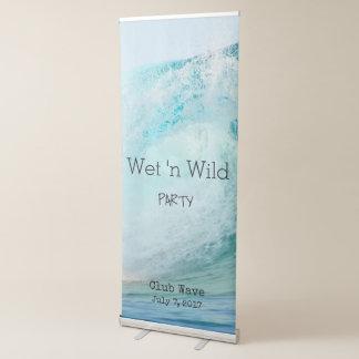 Big wave water party invitation retractable banner