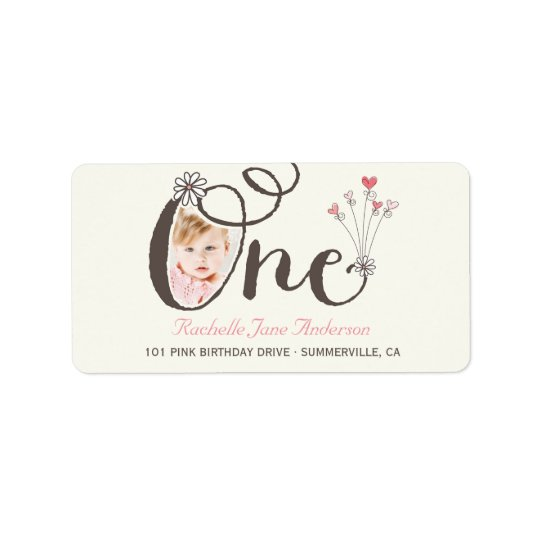 Big Whimsical One Baby Girl 1st Birthday Photo Label