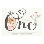 Big Whimsical One Baby Girl First Birthday Photo Invites