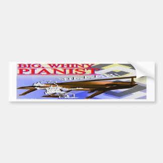 Big Whiny Pianist Bumper Sticker Red Blue & Yellow