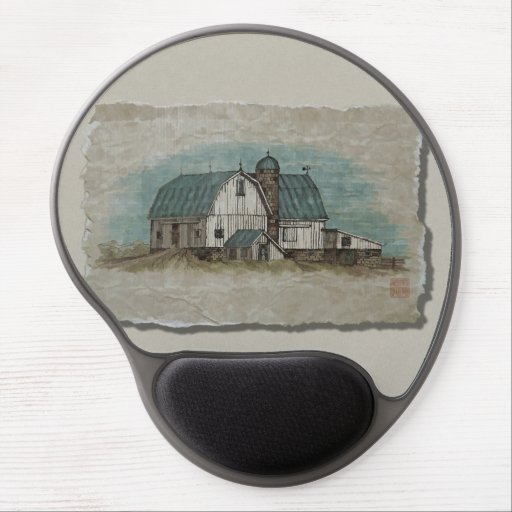 Big White Amish Barn Gel Mouse Mats