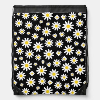 Big White Daisies on Black Drawstring Backpack