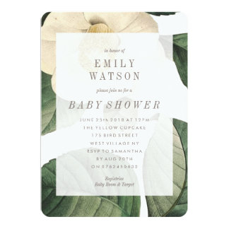 Big White Green Flower Baby Shower Invitation