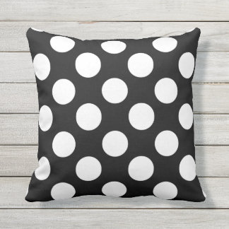 Big White Polka Dots on Black Outdoor Throw Pillow