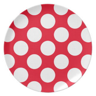 Big white polka dots on Christmas red decor Dinner Plates