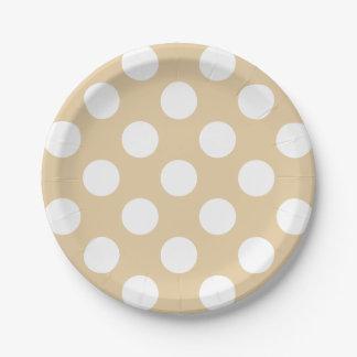 Big White Polka Dots on Cream Tea 7 Inch Paper Plate