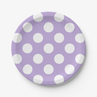 Big White Polka Dots on Lovely Lavender 7 Inch Paper Plate