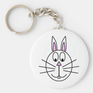 Big White Rabbit cartoon drawing Key Ring