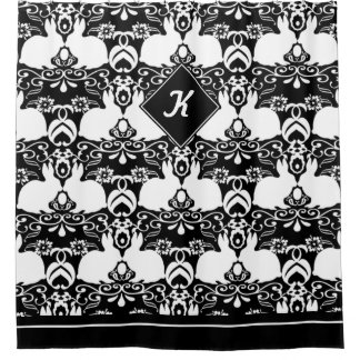 Big White Rabbits & Damask Roses on Black & White Shower Curtain