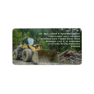 Big Yellow Bulldozer Tractor Heavy Equipment Address Label