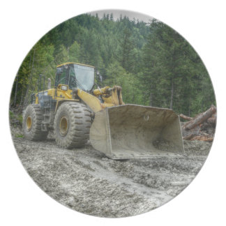 Big Yellow Bulldozer Tractor Heavy Equipment Party Plates