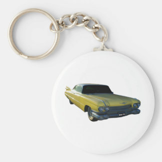 Big Yellow Fin 59 Cadillac Basic Round Button Key Ring