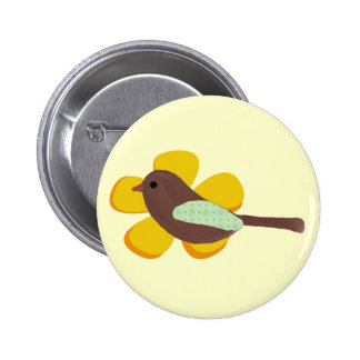 Big Yellow Flower and Little Brown Bird Button Pin