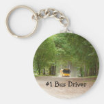 Big Yellow School Bus Basic Round Button Key Ring