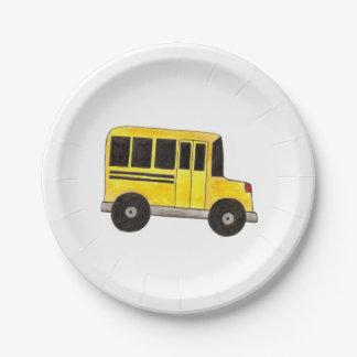 Big Yellow School Bus Teacher Driver Paper Plates