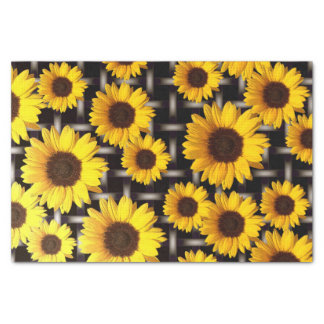 Big Yellow Sunflower and Industrial Grid Tissue Paper