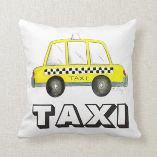 Big Yellow Taxi NYC Checkered Cab Car Pillow