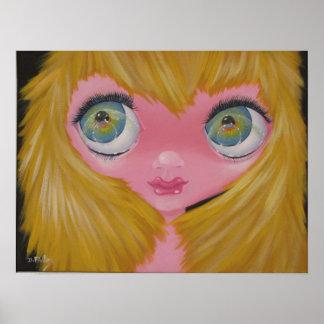 BigEye art original painting 60's style Poster