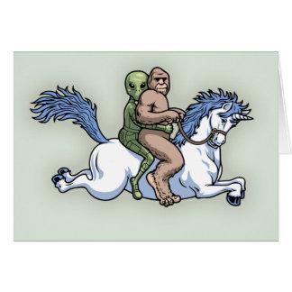 Bigfoot, Alien, Unicorn Card