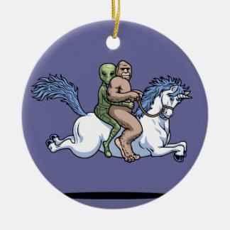 Bigfoot, Alien, Unicorn Ceramic Ornament