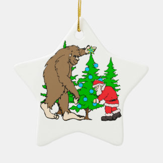 Bigfoot and Santa Christmas Ceramic Ornament