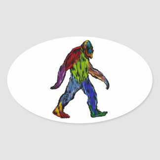 Bigfoot at Large Oval Sticker
