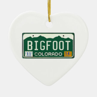 Bigfoot Colorado License Plate Ceramic Ornament