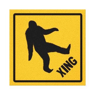 Bigfoot Crossing Traffic Sign Canvas Prints