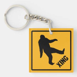 Bigfoot Crossing Traffic Sign Key Ring