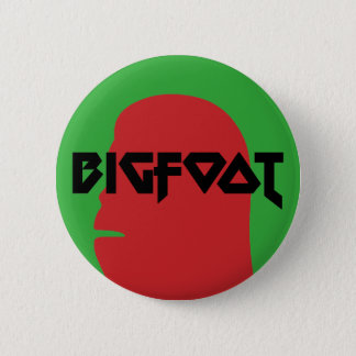 Bigfoot Face and Text - Red and Black Stencil 6 Cm Round Badge