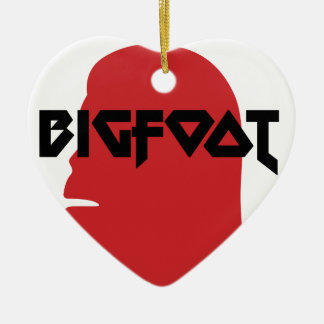 Bigfoot Face and Text - Red and Black Stencil Ceramic Heart Decoration