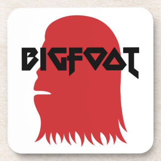 Bigfoot Face and Text - Red and Black Stencil Coaster