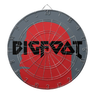 Bigfoot Face and Text - Red and Black Stencil Dartboard