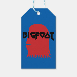 Bigfoot Face and Text - Red and Black Stencil Gift Tags